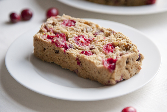 Slightly Sweet Cranberry Walnut Quick Bread