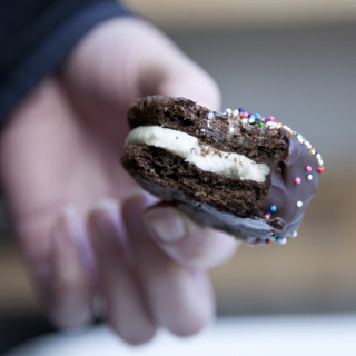 Over-Sized, Double-Stuffed, Chocolate-Dipped Oreos