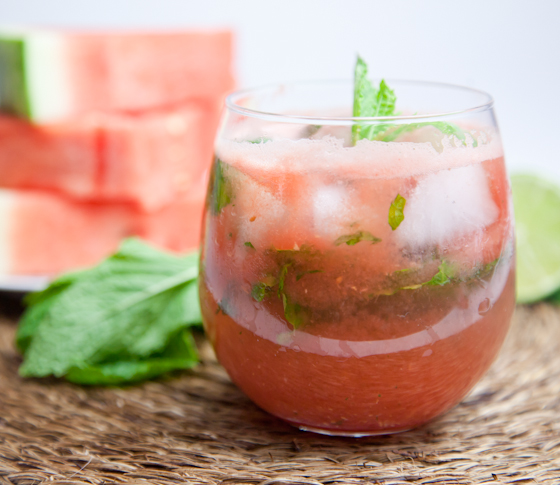 Watermelon Mojito with Agave Simple Syrup