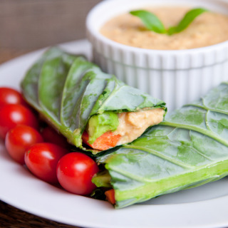 Red Pepper Hummus Collard Green Wraps