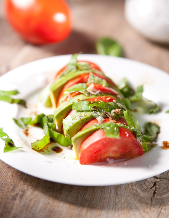 Simple Tomato Avocado Basil Salad