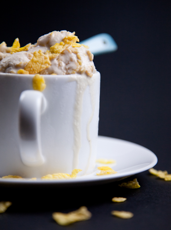 Bourbon Coconut Milk Ice Cream with Corn Flakes