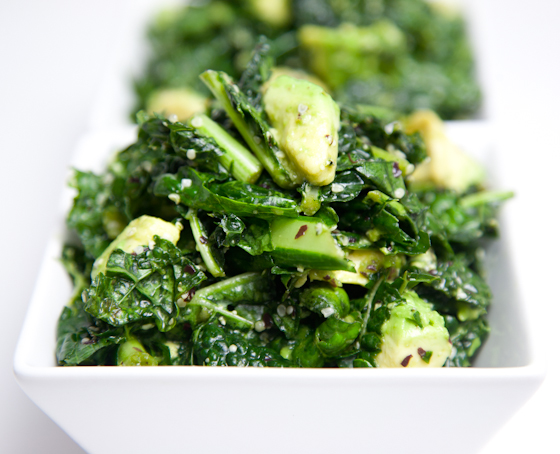 Kale Salad with Island Soyaki, Avocado, Hemp Seeds