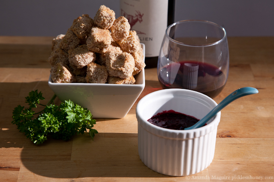 Almond-Crusted Tofu with Blackberry Sauce