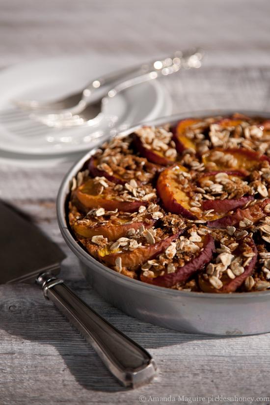 Vegan Nectarine-Topped Oatmeal Cake  1