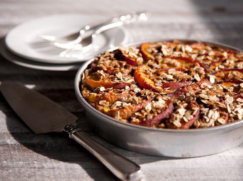 Vegan Nectarine-Topped Oat Cake
