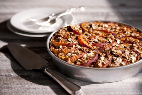 Vegan Nectarine-Topped Oatmeal Cake