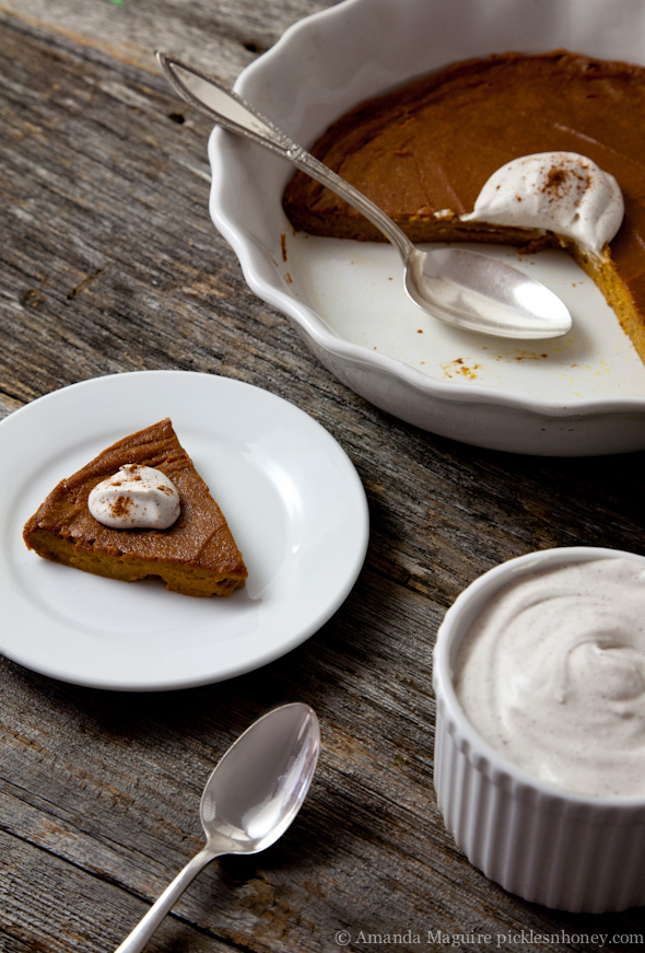 Crustless Sweet Potato Pie (or Quick No-Bake Pudding) with Coconut Whipped Cream - Vegan & GF // picklesnhoney.com
