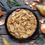Skillet Cornbread with Caramelized Onions, Pears & Thyme