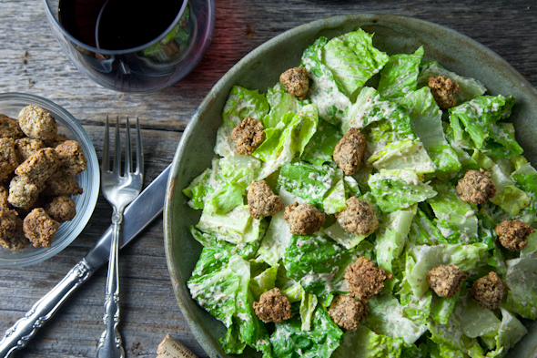 Oh She Glows Chakra Caesar Salad (Vegan & GF) + Cookbook Giveaway!  // picklesnhoney.com