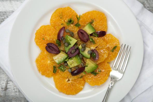 Orange Avocado Salad with Olives, Capers & Parsley | picklesnhoney.com