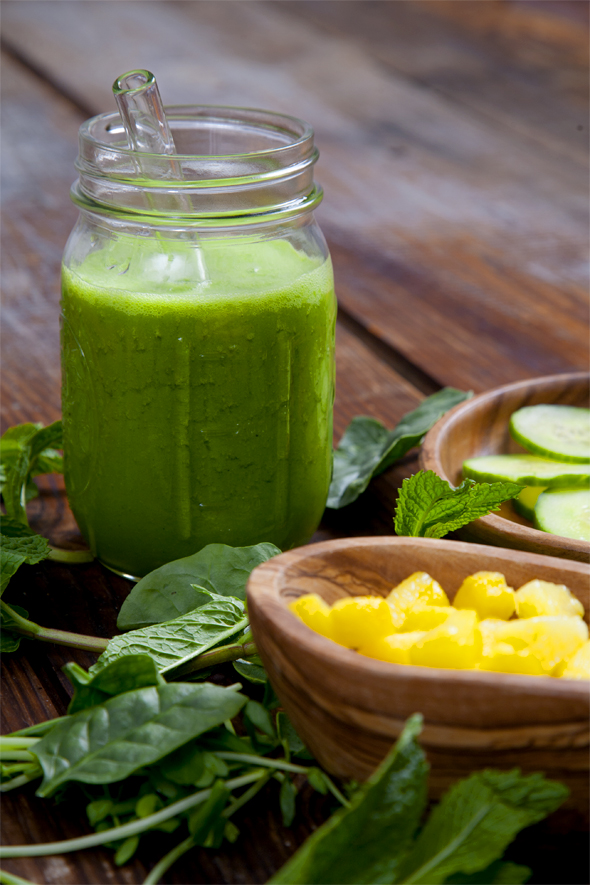 ... -Busting Pineapple Cucumber Mint Smoothie | picklesnhoney.com