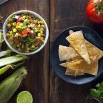 Black Bean & Corn Salsa with Cheesy Baked Tortilla Chips