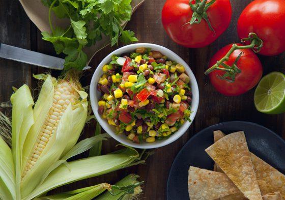 Black Bean & Corn Salsa with Cheesy Baked Tortilla Chips (Vegan, Gluten-Free)   picklesnhoney.com
