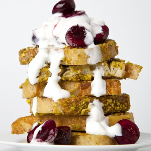 Pistachio-Crusted French Toast with Bourbon Maple Cherries and Vanilla Bean Coconut Whipped Cream (Vegan, Gluten-Free Option) | picklesnhoney.com