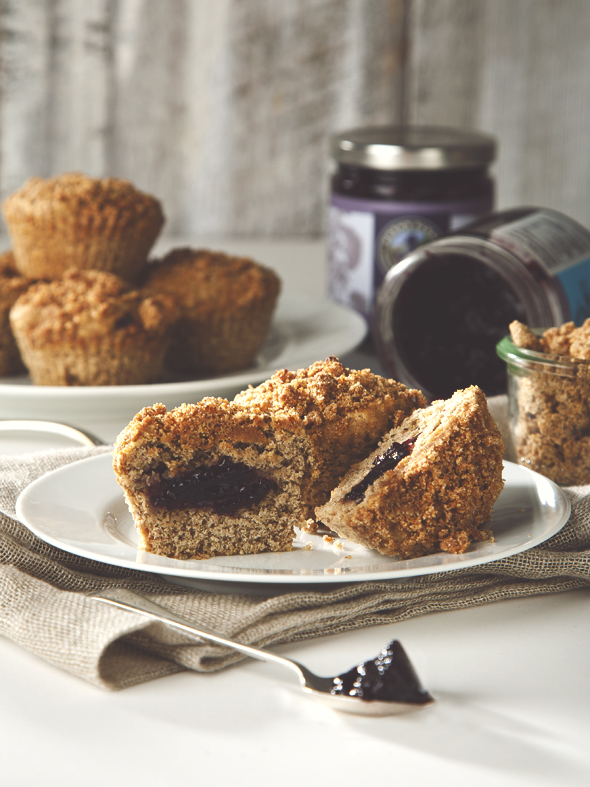 Banana Coffee Cake Muffins with Blueberry Elderberry Filling (vegan ...