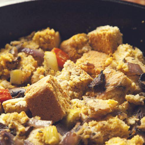 Skillet Cornbread Stuffing with Mushrooms & Herbs (Vegan, Gluten-Free Option) | picklesnhoney.com