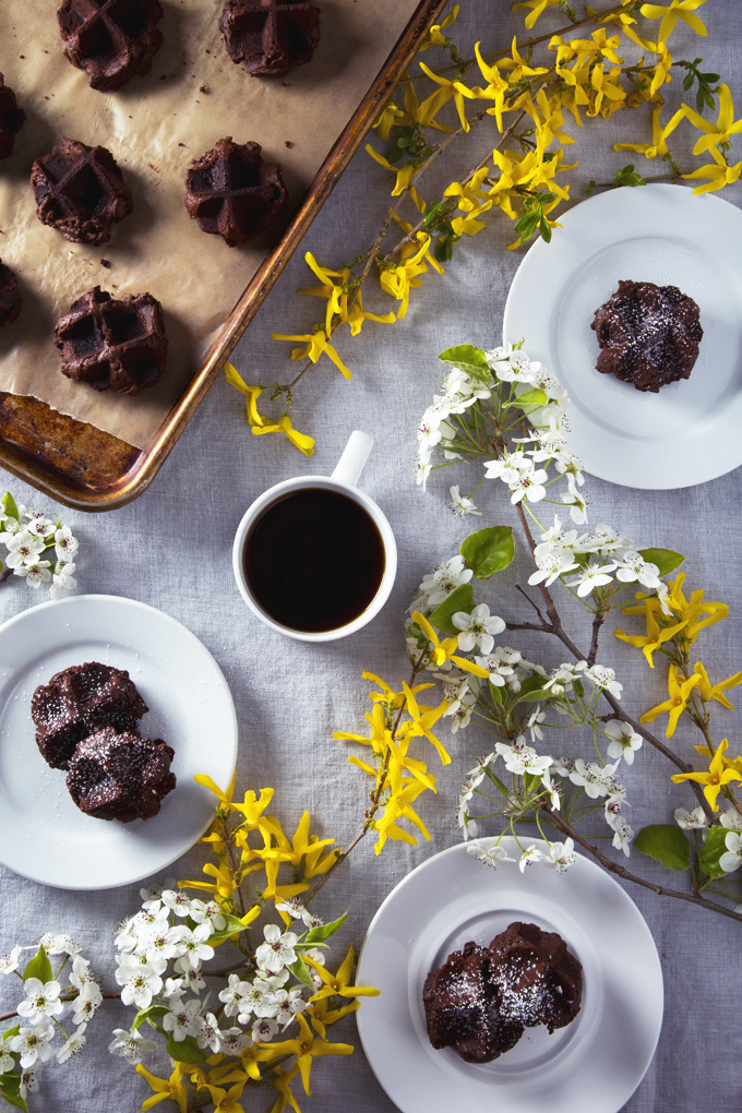 Vegan Triple Dark Chocolate Waffle Cookies | picklesnhoney.com