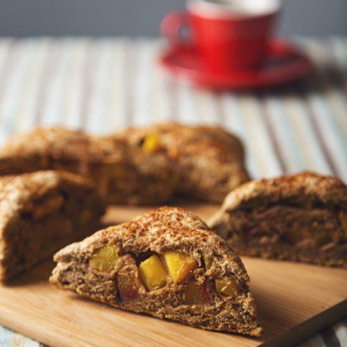Whole Grain Lavender Peach-Stuffed Scones | picklesnhoney.com #vegan