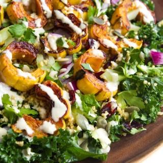Delicata Squash, Quinoa & Kale Salad with Lemon- tahini Dressing | 10 Ingredients & 30 Minutes | picklesnhoney.com #recipe #vegan #thanksgiving #kale #quinoa #squash