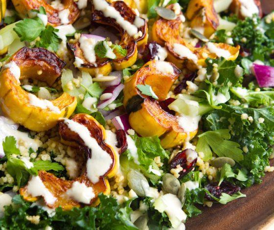 Oh She Glows Kale Salad with Delicata Squash, Quinoa, & Lemon- tahini Dressing | Just 10 Ingredients + 30 Minutes to Prep! | picklesnhoney.com #ohsheglows #kale #salad #recipe #vegan #glutenfree #thanksgiving #quinoa #squash #lemon #tahini