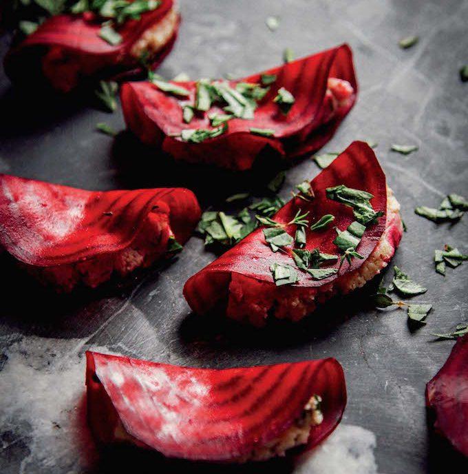 Easy Raw Beet Ravioli with Almond Thyme Pâté + Basil | picklesnhoney.com #raw #vegan #ravioli #glutenfree