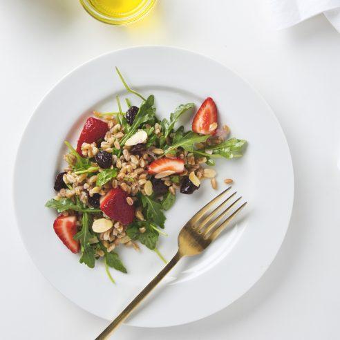 Arugula, Almond & Farro Salad | picklesnhoney.com #vegan #salad #farro #recipe