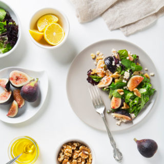 Fig Salad with Toasted Walnuts & Lemon Maple Vinaigrette