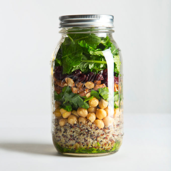 Quinoa & Kale Mason Jar Salad | picklesnhoney.com #quinoa #kale #salad #recipe