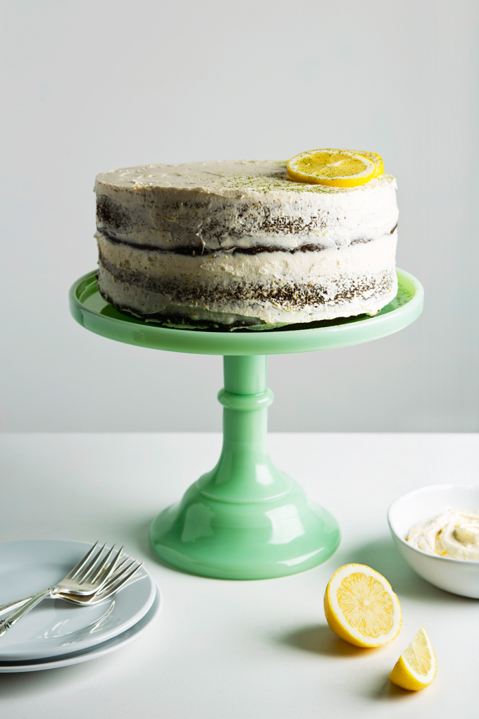 Matcha Cake with Lemon Buttercream | picklesnhoney.com #matcha #cake #recipe #eggfree #dairyfree