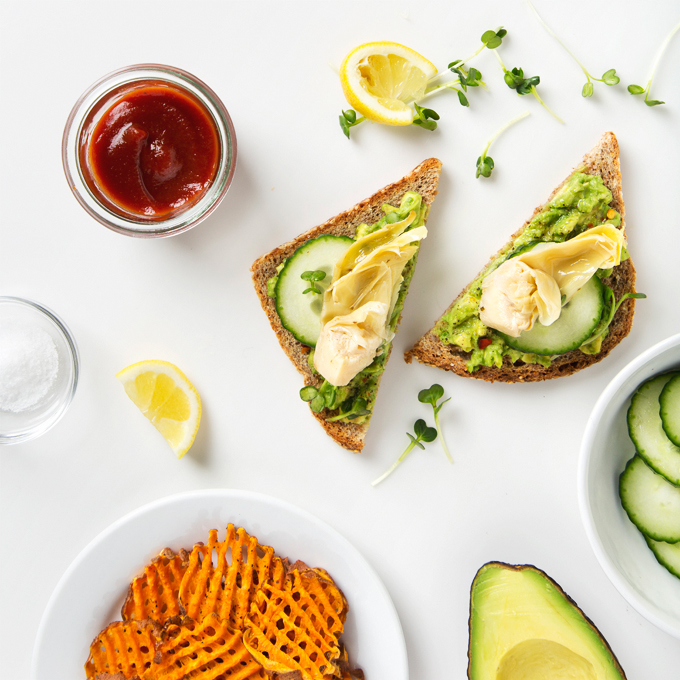 Grilled Artichoke Avocado Toast with Sweet Potato Waffle Fries | picklesnhoney.com #artichoke #avocado #toast #recipe #lunch #dinner #vegan