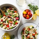 Greek Pasta Salad with Tofu Feta Cheese