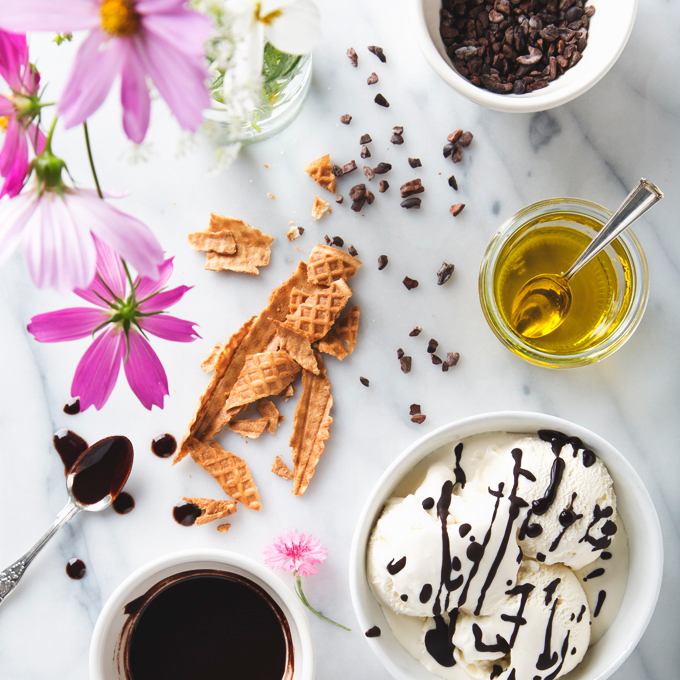 Vegan Olive Oil Ice Cream with Vanilla Bean Flecks! Simple and luxuriously creamy.  | picklesnhoney.com #vegan #oliveoil #icecream #vanilla #dessert #recipe