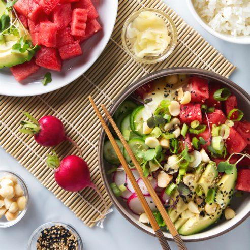 Watermelon Poke Bowl   picklesnhoney.com #watermelon #poke #recipe #lunch #dinner #vegan