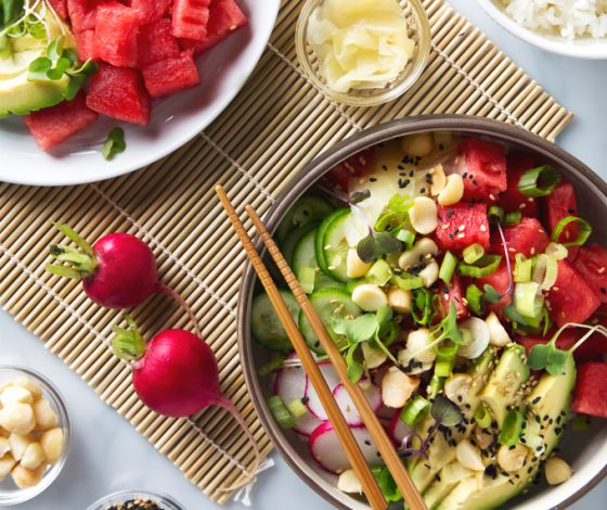 Watermelon Poke Bowl | picklesnhoney.com #watermelon #poke #recipe #lunch #dinner #vegan