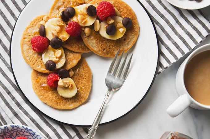 7 Ingredient Vegan Peanut Butter Protein Pancakes (Gluten-Free & Grain-Free)   picklesnhoney.com #pancakes #peanutbutter #breakfast #brunch #recipe #grainfree #glutenfree