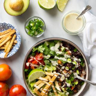 Quinoa Taco Salad with Garlicky Cashew Cream Dressing