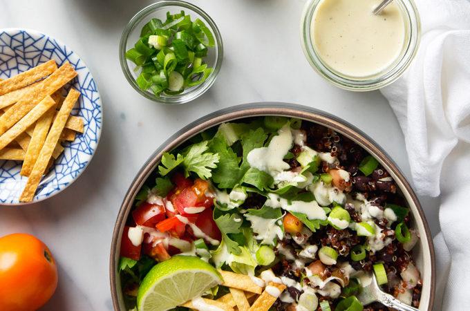 Quinoa Taco Salad with Garlicky Cashew Cream Dressing   picklesnhoney.com #vegan #quinoa #taco #salad #lunch #dinner