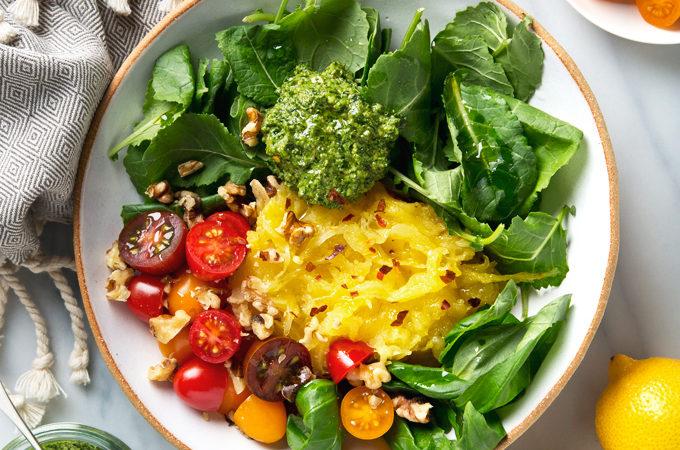 Kale Pesto Spaghetti Squash   picklesnhoney.com #vegan #glutenfree #pesto #spaghetti #squash #recipe #lunch #dinner