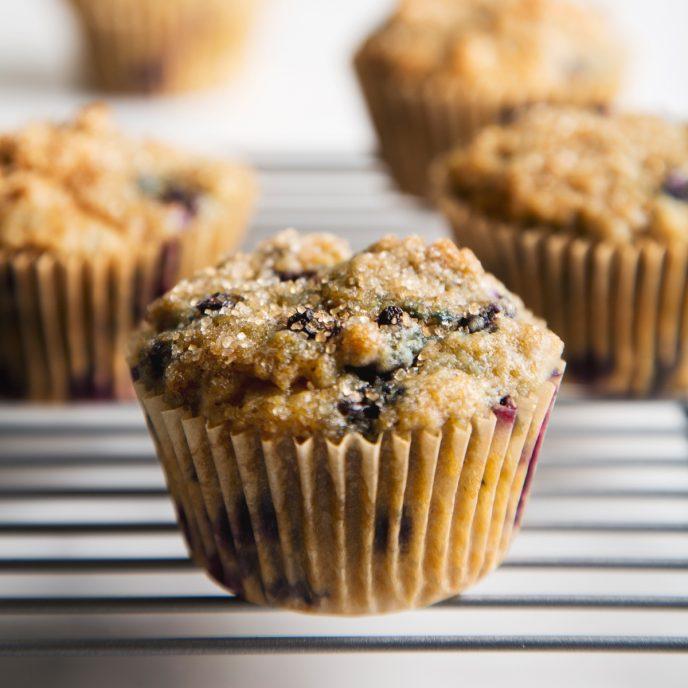 Healthy Blueberry Muffins | picklesnhoney.com #vegan #blueberry #muffins #breakfast #snack #recipe