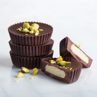 Marzipan Dark Chocolate Cups with Salted Pistachios