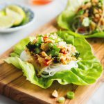 Vegetable Pad Thai Lettuce Wraps with Tempeh