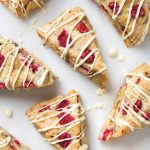 Vegan Raspberry Scones with White Chocolate Drizzle