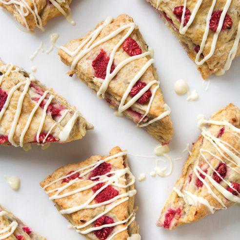 Simple Vegan Raspberry Scones with White Chocolate Drizzle | picklesnhoney.com #vegan #raspberry #scones #recipe #breakfast #brunch #whitechocolate