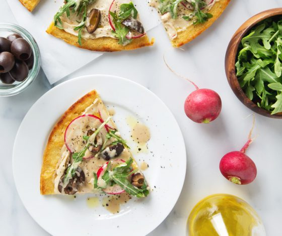 Simple Spring Socca Pizza (Vegan & GF) Only 8 ingredients + 25 minutes to make! | picklesnhoney.com #socca #pizza #vegan #glutenfree #recipe