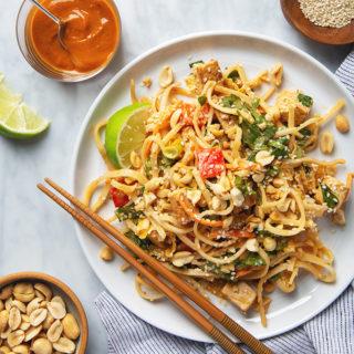 Tofu Pad Thai Salad with Peanut Dressing