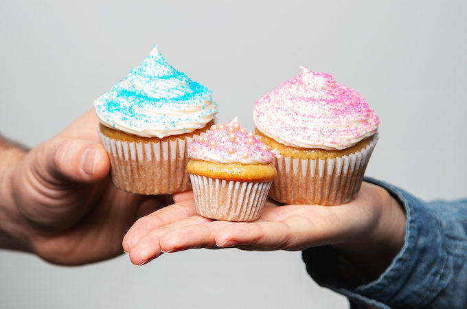 Surprise! We're having a baby girl! | picklesnhoney.com #pregnancy #announcement #baby #girl #vegan #cupcakes #recipe