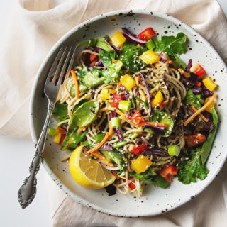 Rainbow Soba Noodle Salad with Green Goddess Dressing