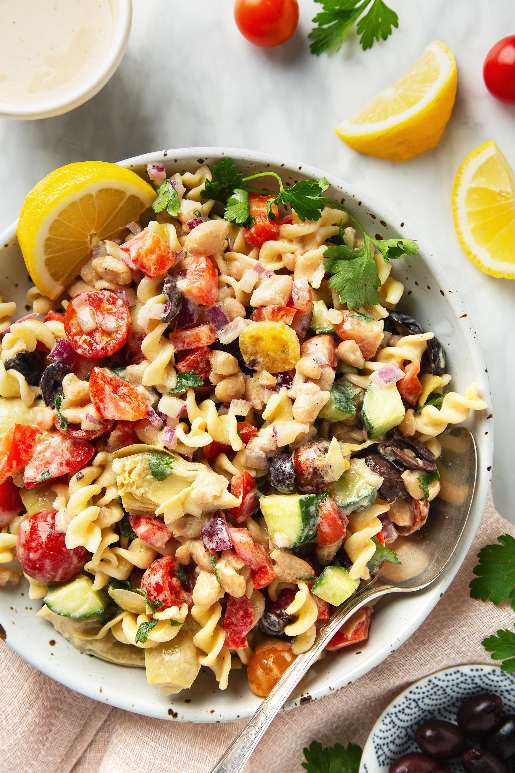 30-Minute Creamy Tahini Pasta Salad (Vegan & Gluten-Free!)   picklesnhoney.com #tahini #pasta #salad #side #main #lunch #dinner #recipe #vegan #glutenfree