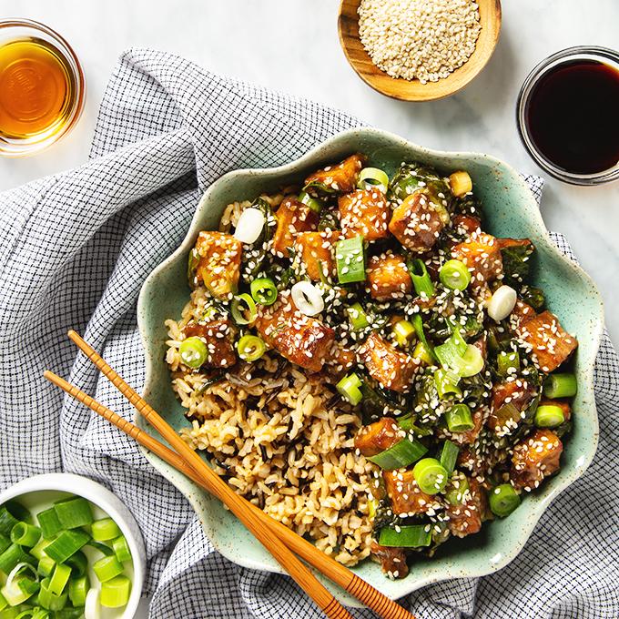 Better-Than-Takeout Crispy Sesame Tofu with Wild Rice (Vegan + Gluten-Free!)   picklesnhoney.com #sesame #tofu #rice #lunch #dinner #main #recipe #vegan #glutenfree